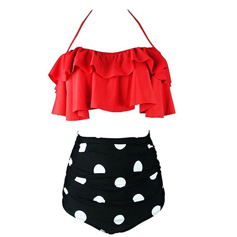 New Bikini Costume da bagno a vita alta Costume da bagno Plus Size Costumi da bagno Push-Up Bikini Set Vintage abito da spiaggia Biquini
