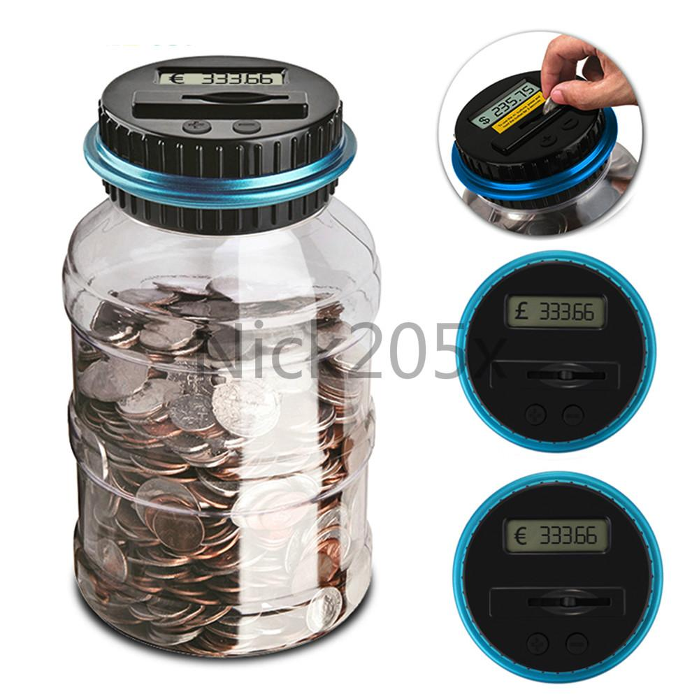 Coin Electronic Digital LCD Counting Saving Box Jar Coins Storage Box For USD EURO GBP Money Free Shipping