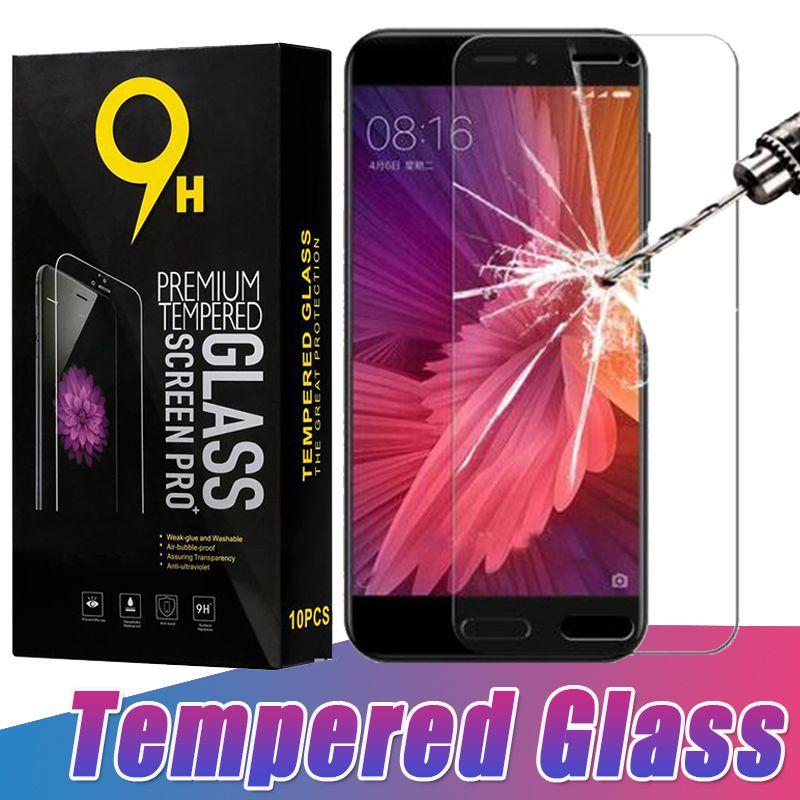 9H Hardness Tempered Glass Screen Protector Film Guard Premium för Xiaomi MI 9 SE 8 6 Plus 6X Obs Bland Max 3 Pro F1 Spela Gå med Retail Box