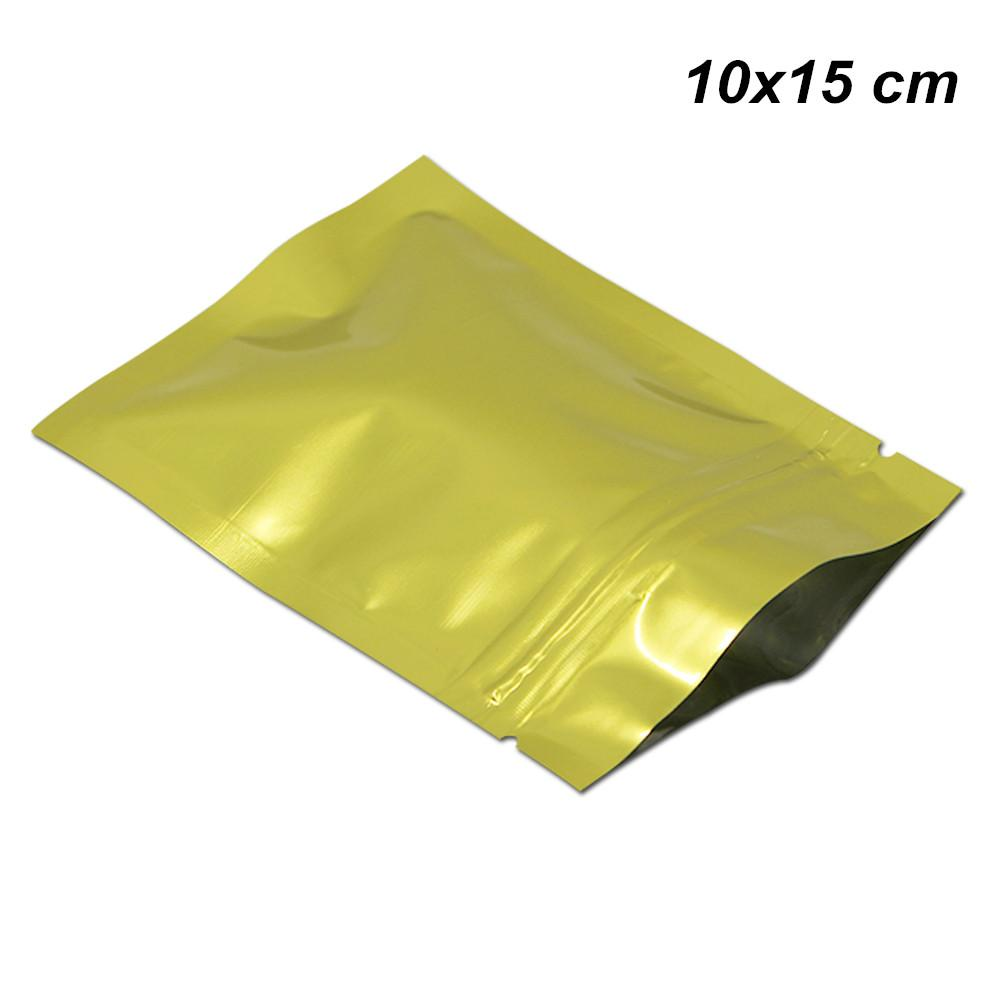 100pcs Lot 10x15cm Gold Aluminum Foil Self Sealed Zipper Packaging Bags for Snack Self Adhesive Mylar Foil Reusable Spices Tea Packing Pouch