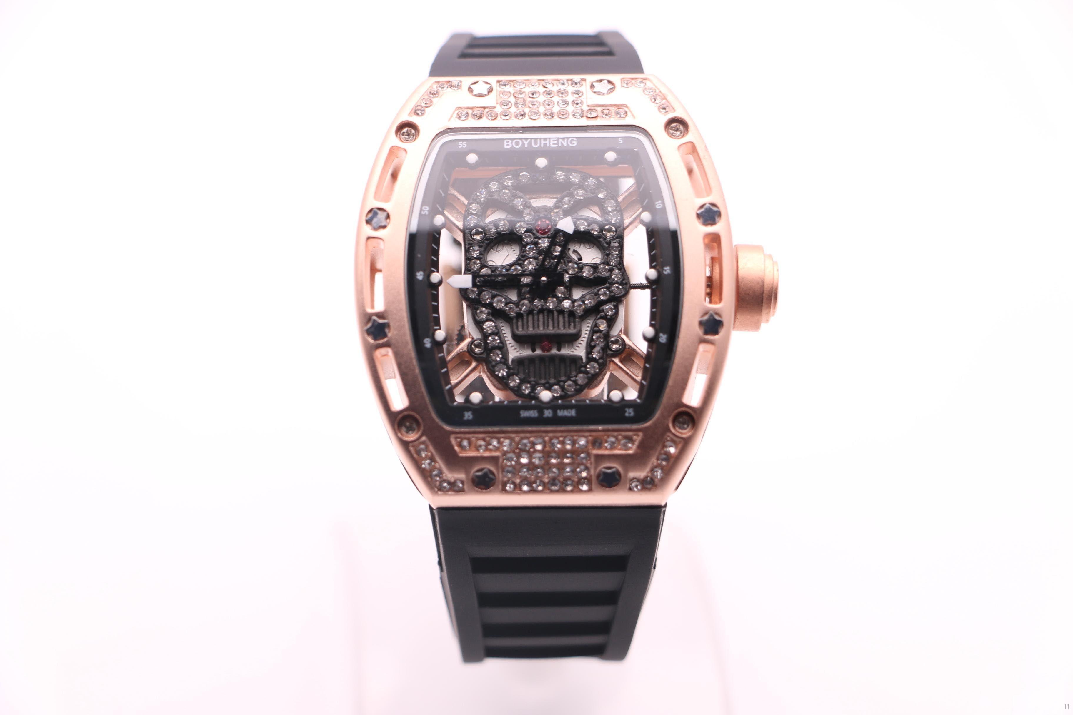 Homem de alta qualidade relógio preto / ouro do crânio dial marrom do homem de borracha marrom / vermelho / preto Círculo de ouro caso de aço de quartzo relógio de diamantes