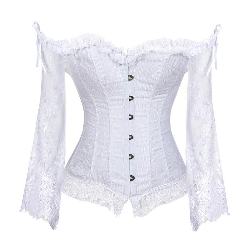Свадебный корсет топы для женщин с рукавами стиль Викторианский ретро Бурлеск кружева корсет и бюстье свадебный жилет мода Белый