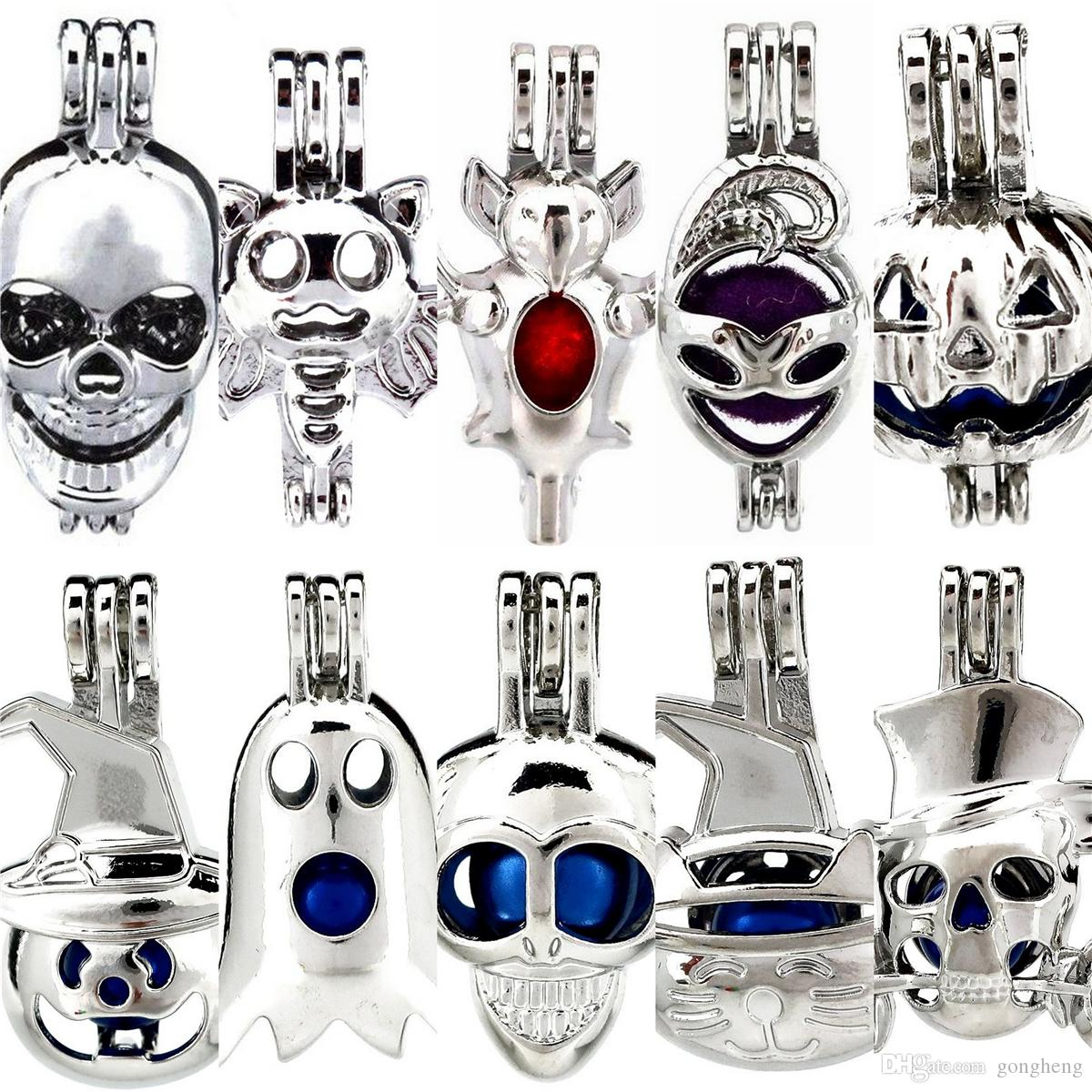 10pcs/lot Silver Happy Halloween Theme Costume Party Ghost Oysters Beads Cage Locket Pendant Aromatherapy Perfume Essential Oils Diffuser