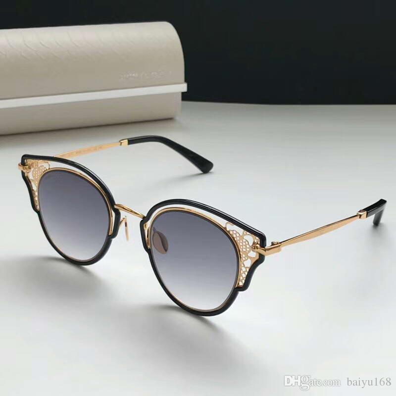 Женщины Солнцезащитные очки DHELIA / S Черное золото серый затененных 48мм моды очки солнцезащитные очки очки новая с коробкой