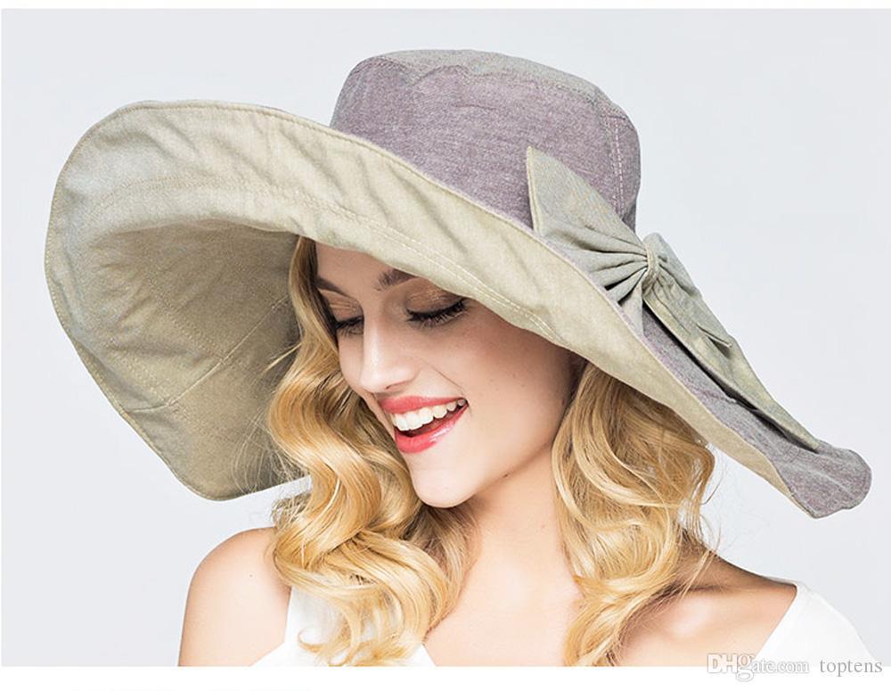 Moda Donna Estate Due lati Reversibile Grande tesa Floppy Boho Beach Sun Cappelli bowknot Cappelli