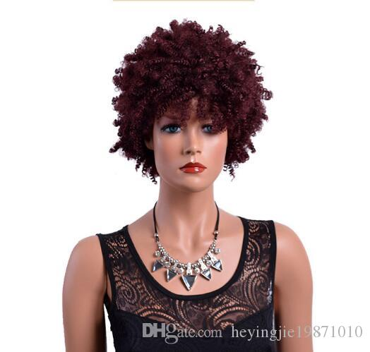 Xiu Zhi Mei Short Curly Burgundy Wigs for Black Women 8 Inches American African Synthetic Afro Wig High Temperature Fiber Hair