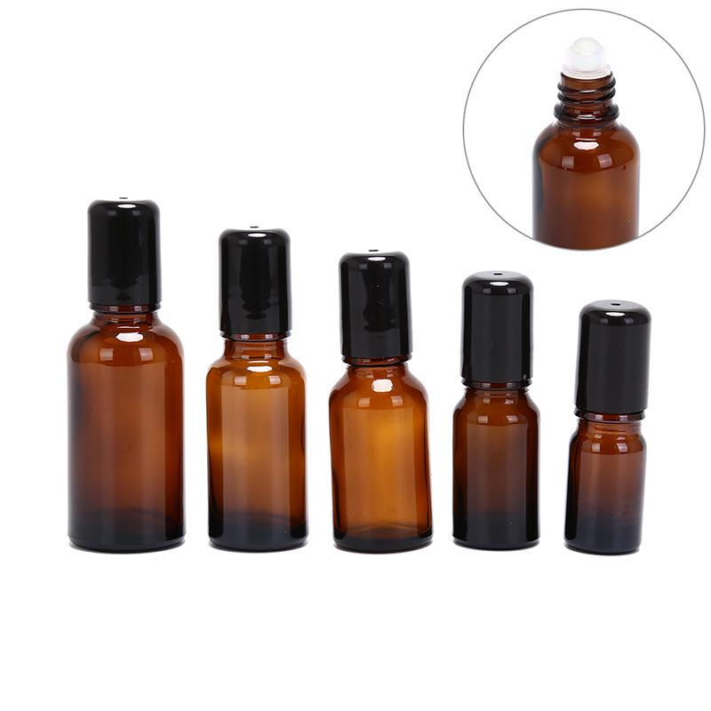 2018 Hot 1PC Amber Refillable Roller Bottle Essential Oils Perfume Deodorant Containers Lid Storage Tool Gift 5/10/15/20/30ML