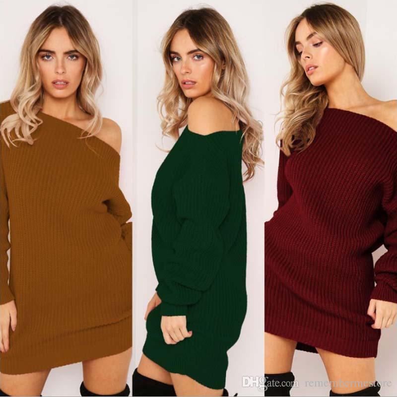 새로운 여성 니트 스웨터 솔리드 컬러 배트 긴 소매 느슨한 따뜻한 점퍼 풀오버 탑 니트 카키 / 그린 / 레드