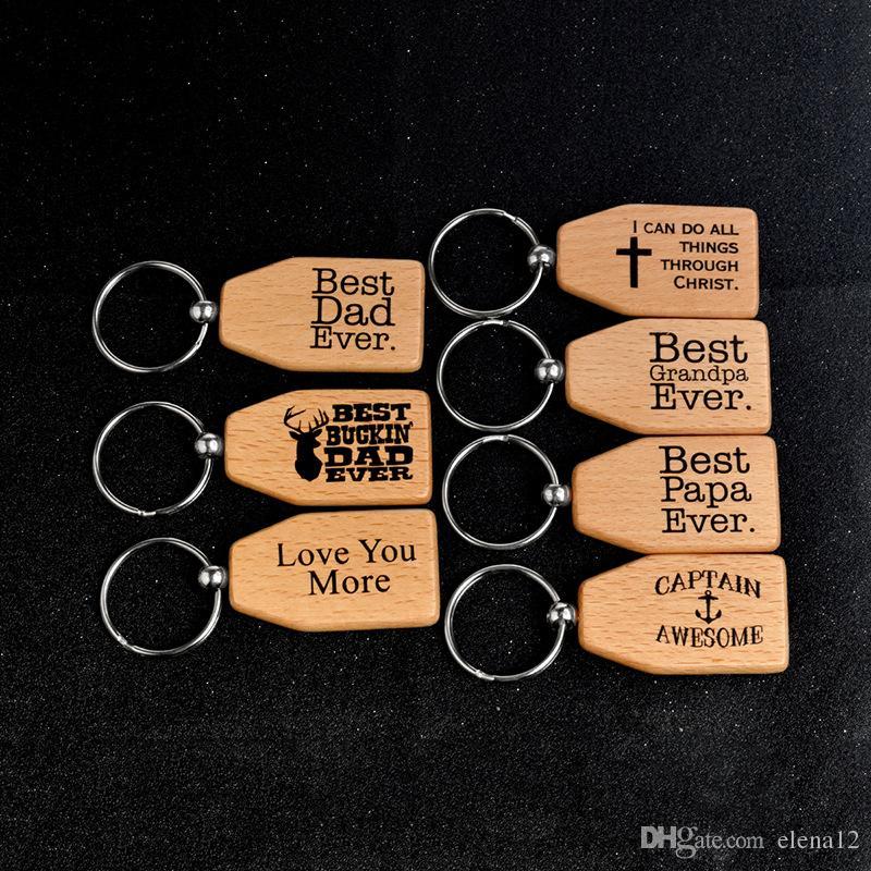 Legno Portachiavi Miglior Papà Miglior Papà Miglior nonno Amore siete mai legno portachiavi Portachiavi Anello tag Titolare Family Member Jewelry 340030