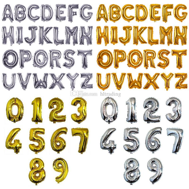 16 Inch Aluminium Coating Balloon Number Letter Shaped Gold Silver Inflatable Ballons Birthday Wedding Decoration Event Party Supplies C4779