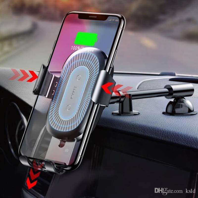 QI شاحن لاسلكي شاحن سيارة Gravity لهاتف iPhone X 8 شاحن سيارة لاسلكي سريع الشحن لشحن سامسونج S9