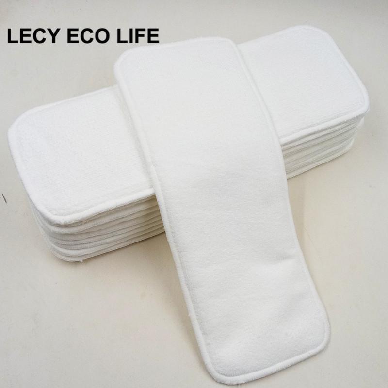 Lecy Eco Life 3 Layers Inserto per pannolini per neonati in microfibra, 10 pz Pad per urine assorbenti per i pannolini riutilizzabili per bambini