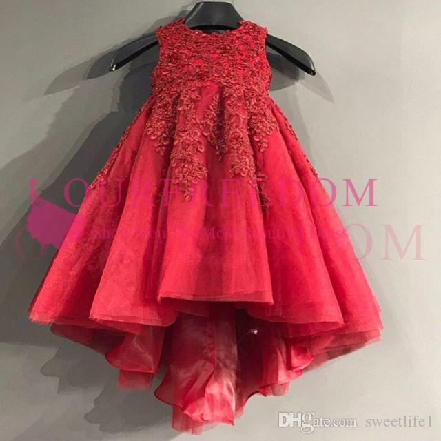 2019 Cute Red Hi Niski kwiat Dziewczyny Sukienki Aplikacje Szczegóły Line First Communion Dresses Girls Pageant Suknia Custom Made Gorąca Sprzedaż