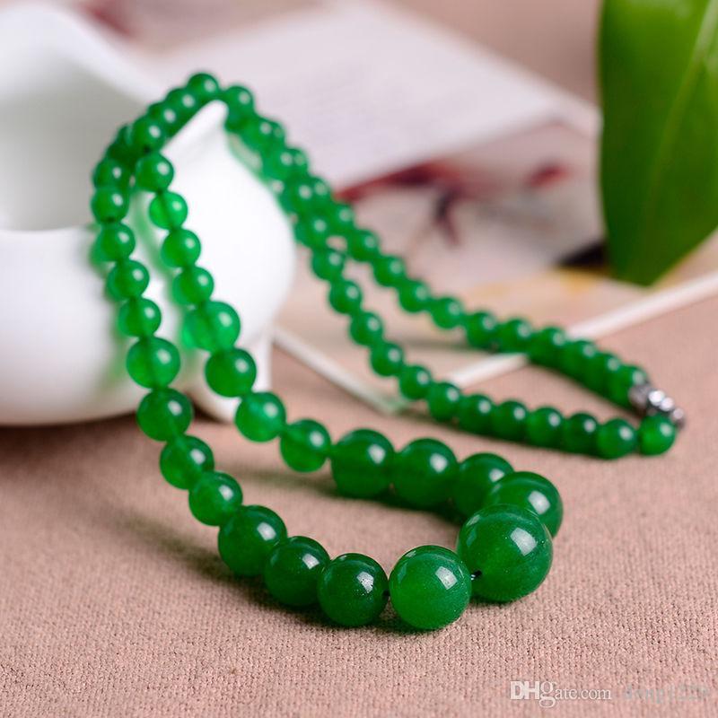 bella collana di perle di giada verde naturale da 6-14mm