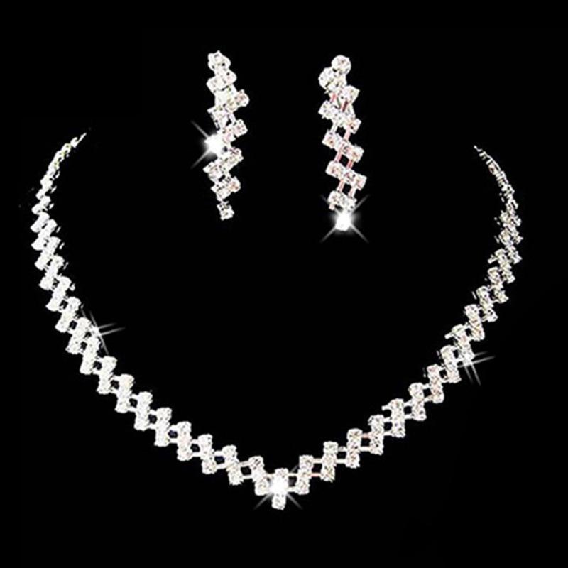 Conjuntos de joyas Conjuntos de joyas de fiesta de moda chapados en plata noble Collares Pendientes para novias Damas de honor Conjunto de joyas de boda
