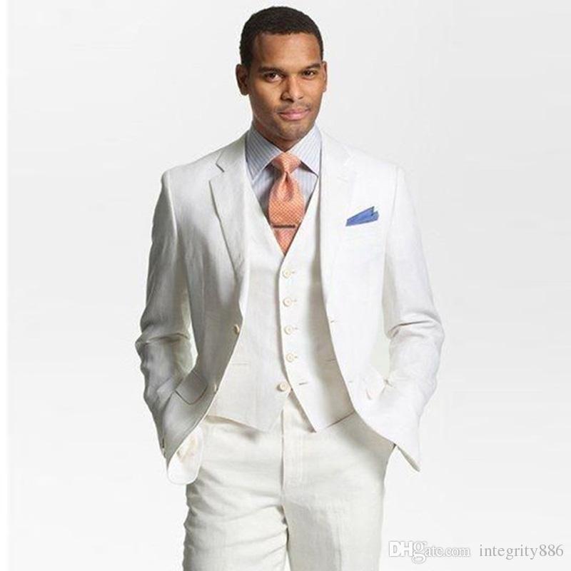 Marque de nouveaux hommes blancs 3 pièces costume de mariage smoking excellent marié smoking tuxedos Notch revers de deux boutons hommes blazer (veste + pantalon + cravate + gilet) 511