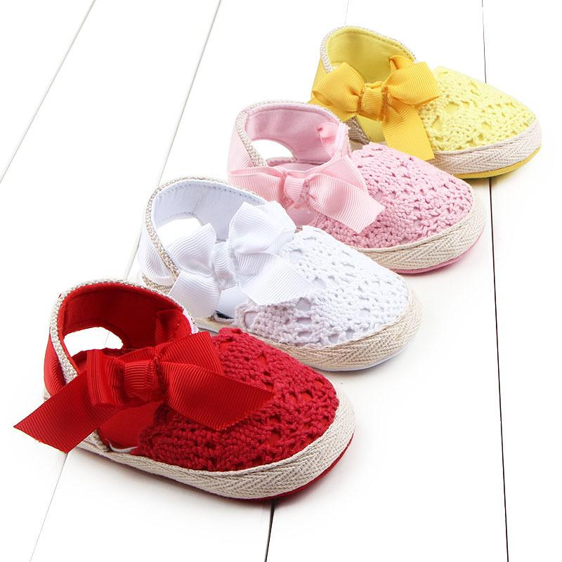Baby Girl Newborn Shoes Spring Summer Sweet Very Light Big Bow Knitted Dance Ballerina Dress Pram Crib Shoes