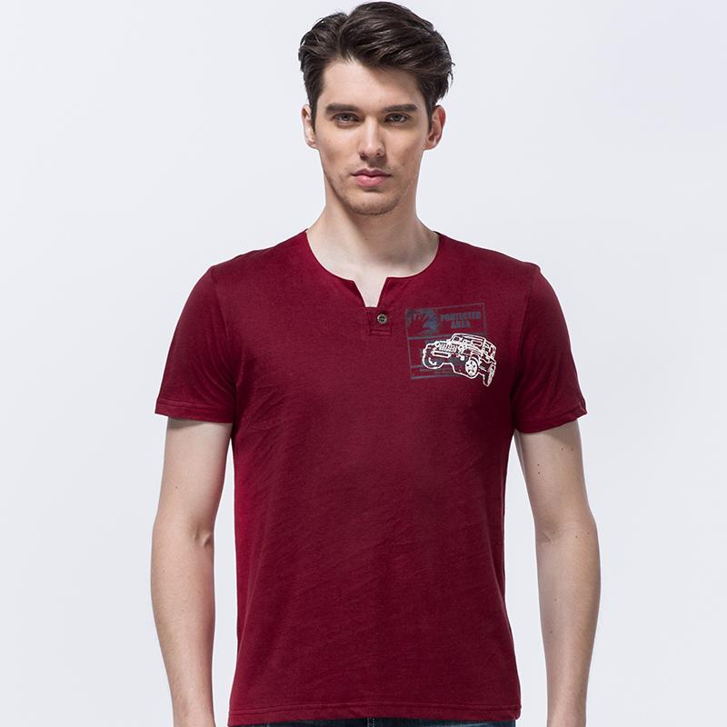 Shirt Senlin Jeep V manica corta collo Stampa T Uomini della maglietta di estate di modo Jeep stile degli uomini di cotone di T degli uomini