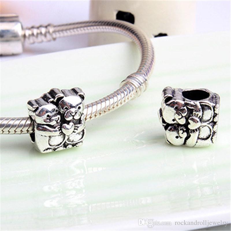 Dois ursos liga charme para pandora pulseira cobra cadeia ou colar moda jóias solto pérola nova chegada