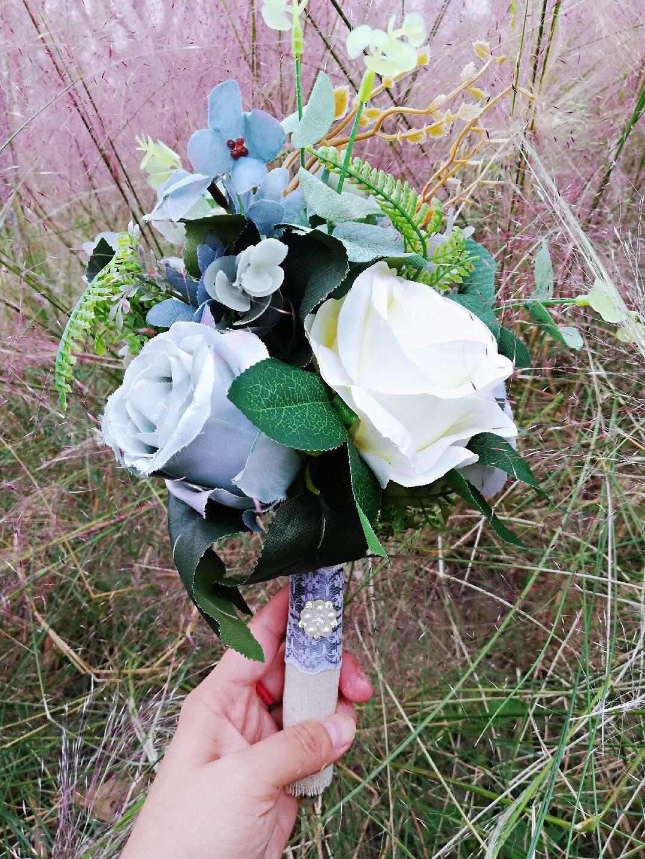 Gri Düğün Buketi, Nedime Buketi, Gri Fildişi Buketi, Gri Düğün Çiçekleri, Fildişi Düğün Çiçekleri, Düğün Aksesuarı
