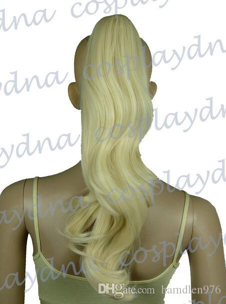 Livraison gratuiteHeat Stylable Light Golden Blonde Clipon Curly Cosplay Ponytail