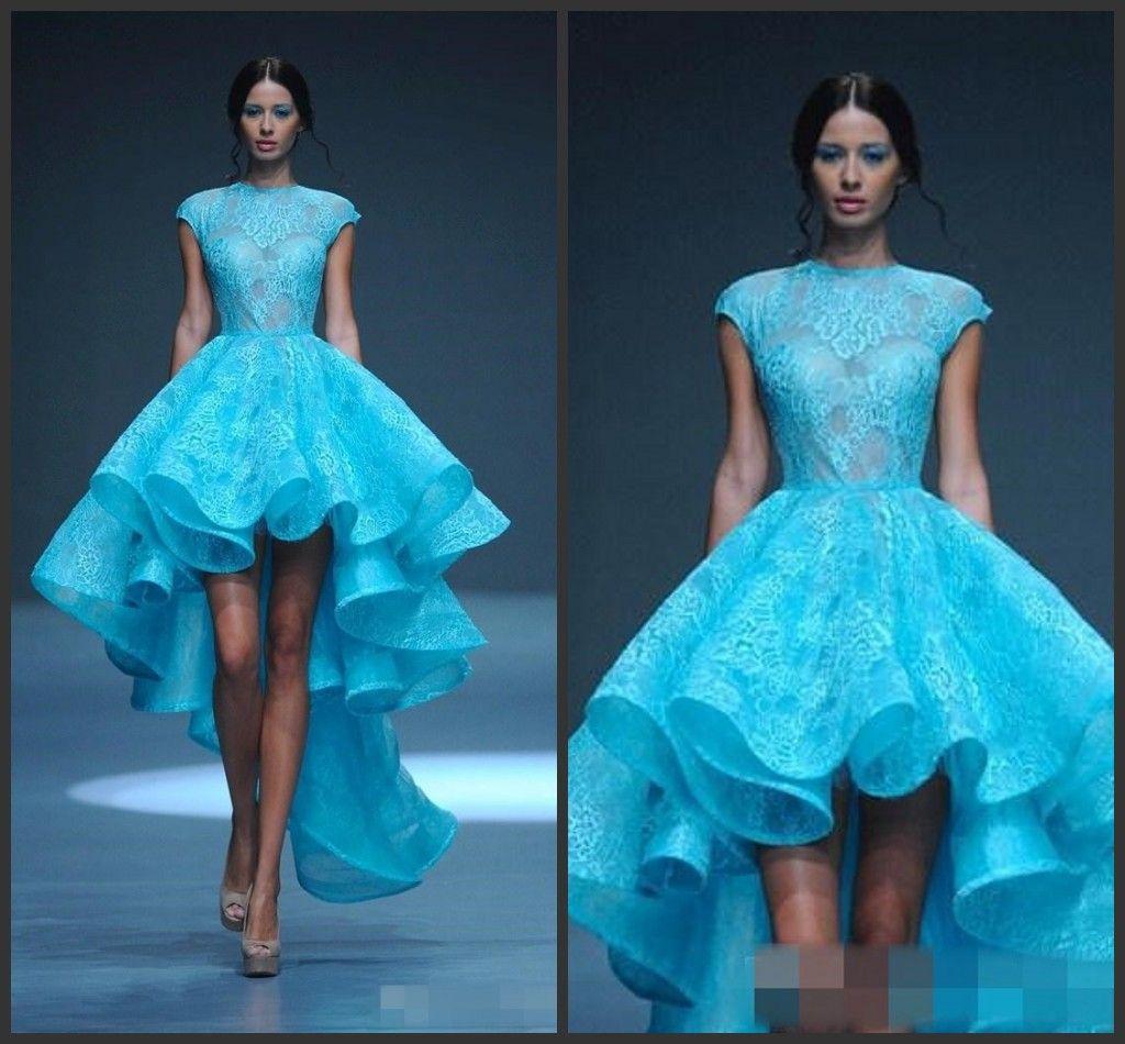 Hot Sale Michael Cinco High Low Wedding Dresses Sky Blue Lace Jewel ...