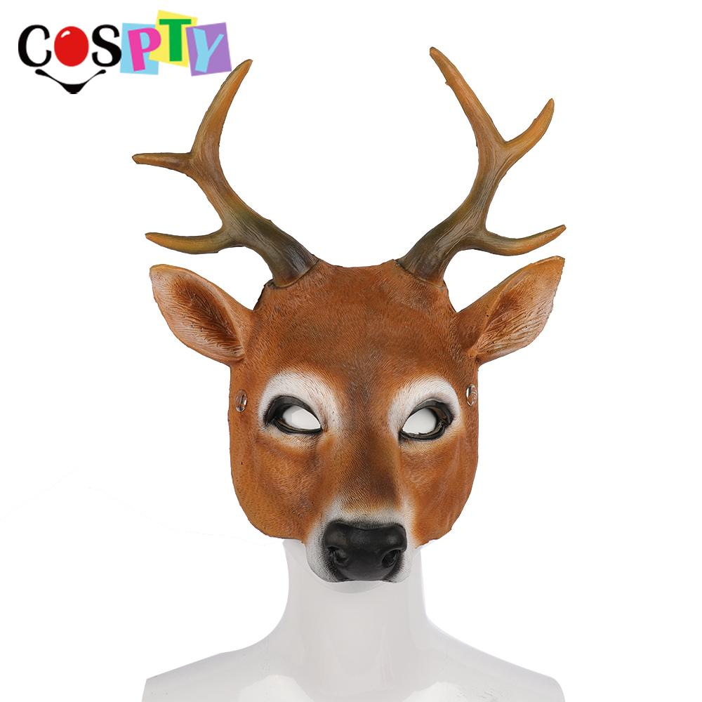 Christmas Reindeer.Cospty Christmas Reindeer 3d Animal Realistic Halloween Party Pu Foam Latex Deer Head Mask Celebrity Masquerade Masks Celebrity Party Masks From
