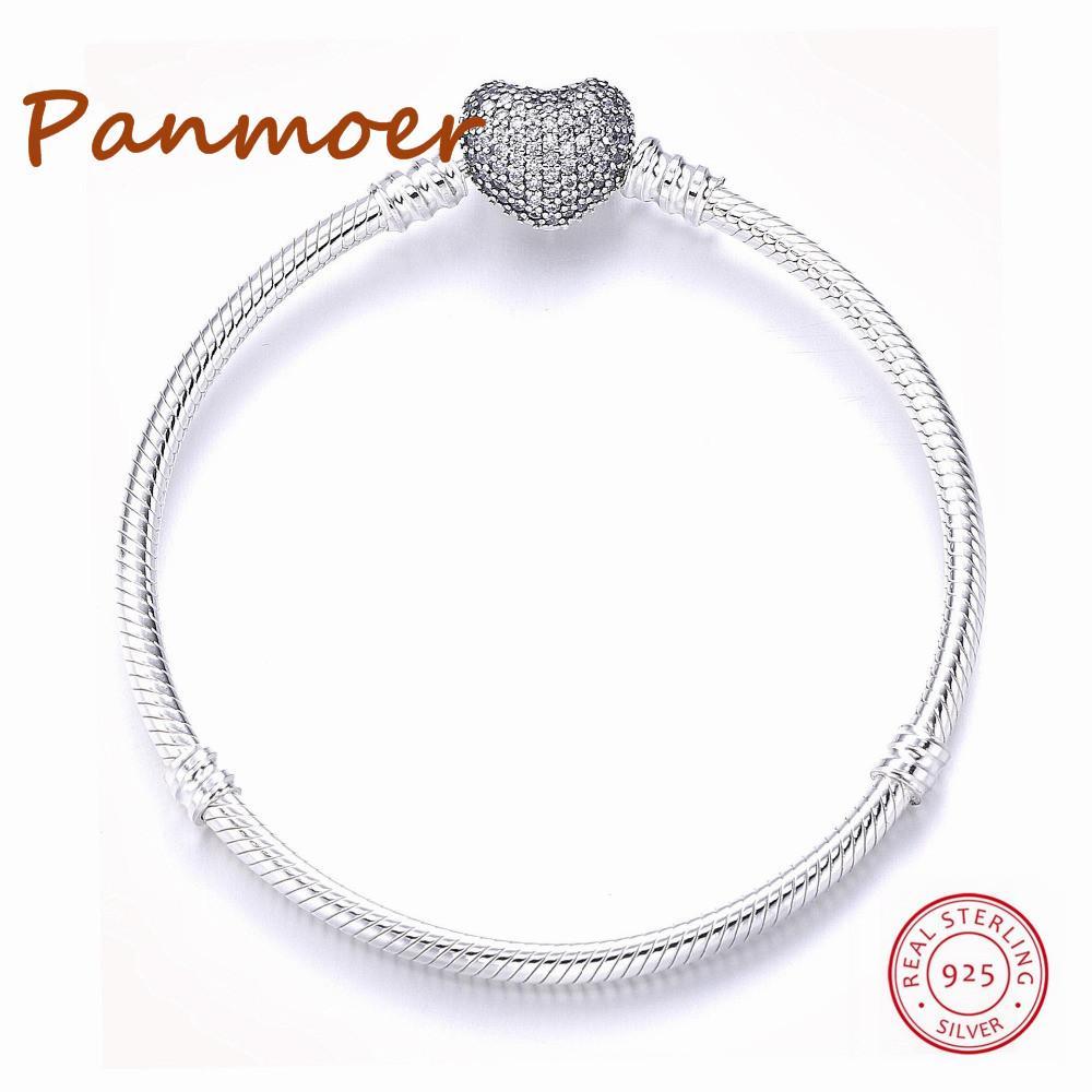 Luxe Authetic 100% Argent Sterling 925 Coeurs Forme Or Couleur Boucle Serpent Chaîne Charme Perles Fit pandoras Bracelet Pour Les Femmes