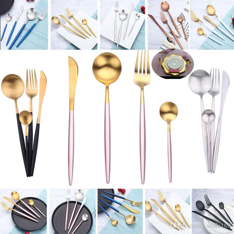 4 adet / takım Sofra Takımı Set Kaşık Çatal Bıçak Çay Kaşığı Paslanmaz Çelik Masa Yemek Setleri Lüks Batı Kültür Seti HH7-1490