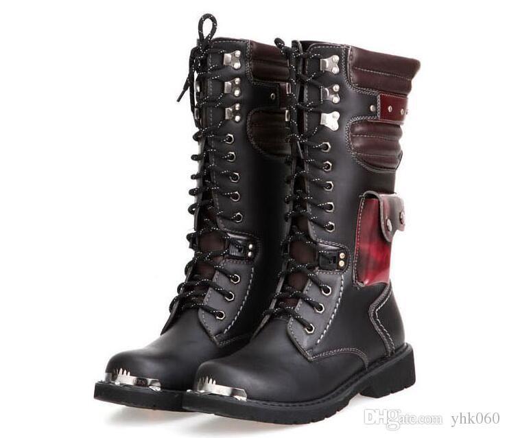 الجلود والأحذية العسكرية للرجال القتالية الشرير الصخرة الركبة الرجل الأحذية دراجة نارية عالية جلد الجيش الذكور الأدوات الأحذية الشرير الصخرة