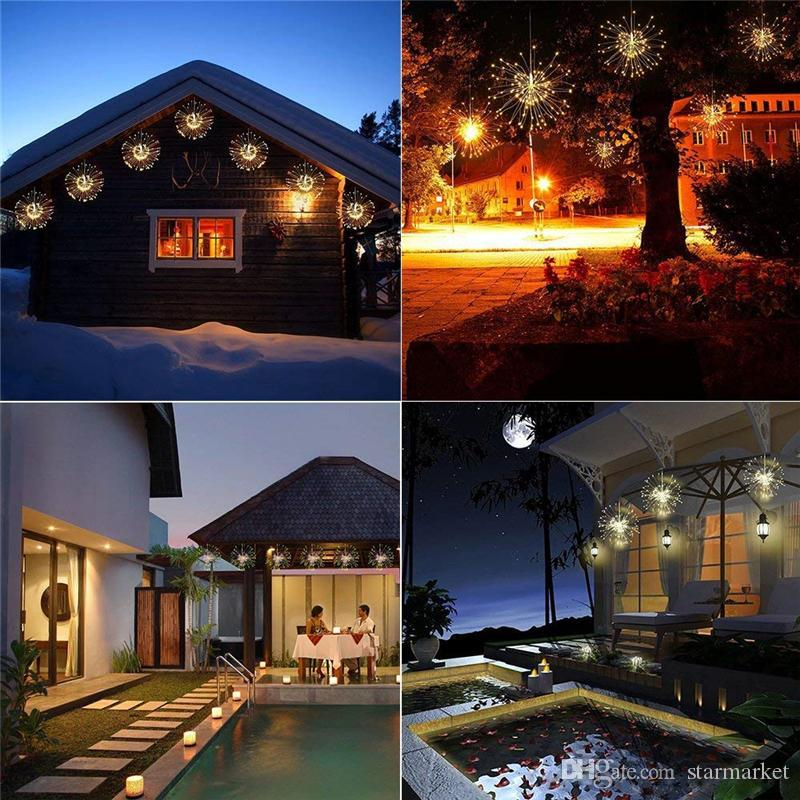 Wireless Led String Lights 180led Hanging Firework Light Garden Party Christmas Decor(180LED, 60 Branches, Branch Length 30cm, 3led/Branch )