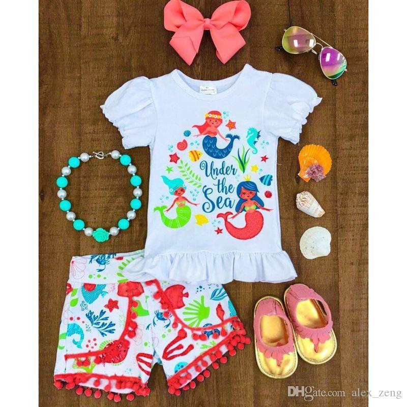 Nowe Baby Girls Sets Summer Moda Cartoon Mermaid Drukowane Krótki Rękaw T Shirt + Tassel Krótkie spodnie 2 Sztuk Zestaw Dzieci Cute Princess Casual Clo