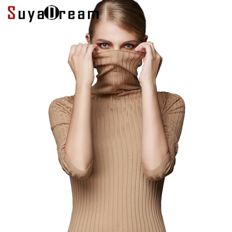 Женщины шерсть пуловер 100% шерстяной свитер для женщин водолазка ребра вяжет зимние свитера белый черный хаки дна тянуть femme S18100803