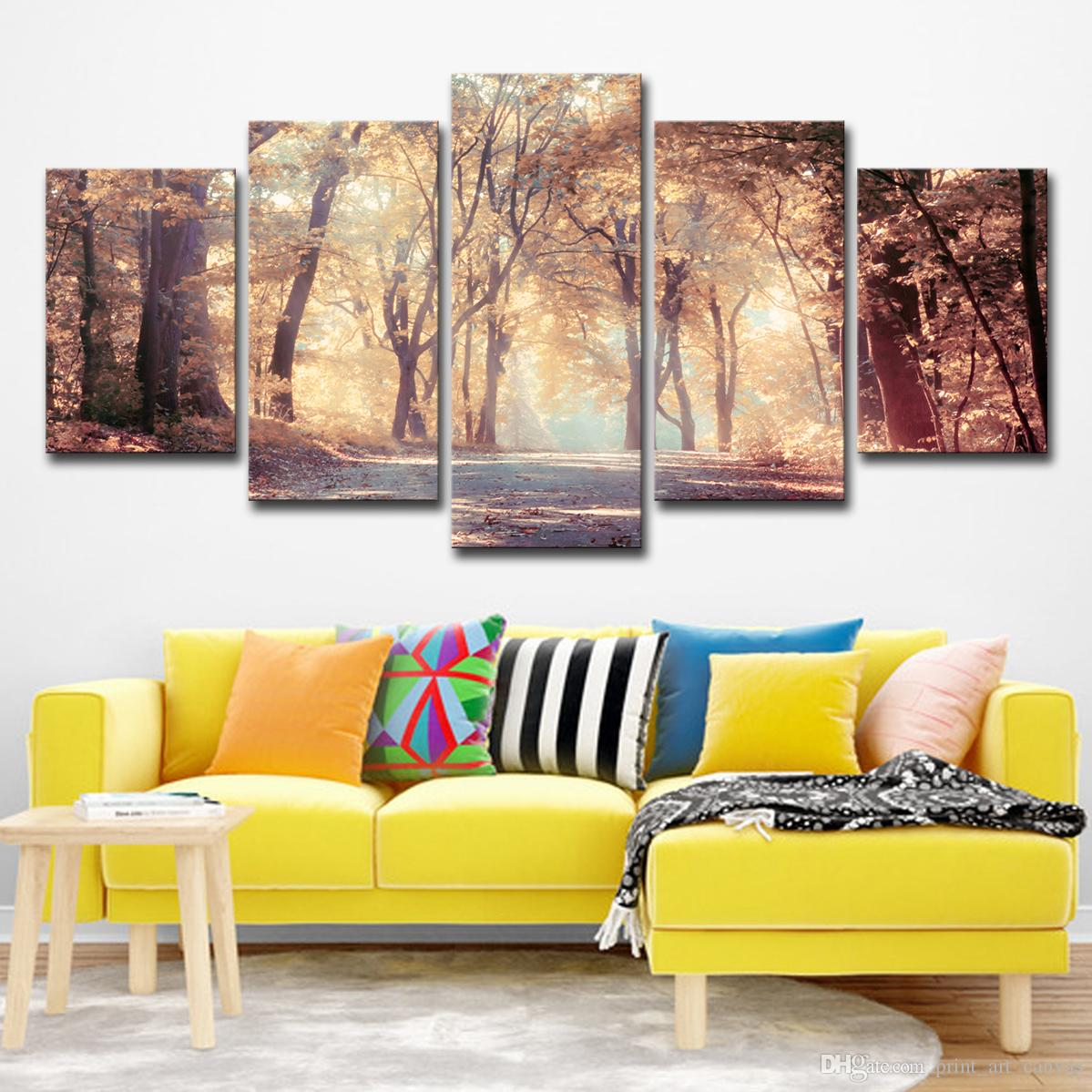 Canvas Modern Wall Art Poster Home Decor HD Printed Painting 5 Panels Autumn Leaves Tree Landscape Modular Pictures