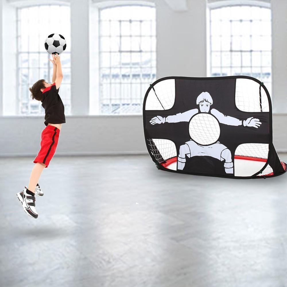 Soccer Goal Net 2-in-1 Pop Up Kids Football Ball Goal Net Training Target Indoor Outdoor Sports Gate Practice Scrimmage Game
