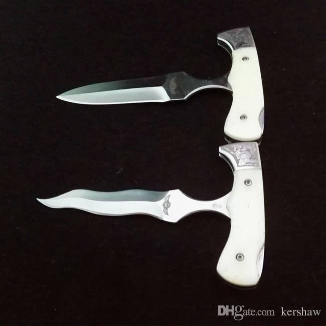 5 modelos de equipos de alta calidad al aire libre de la herramienta de corte navaja cuchillo de mango de hueso sólo pulsar un botón ajustable plegable