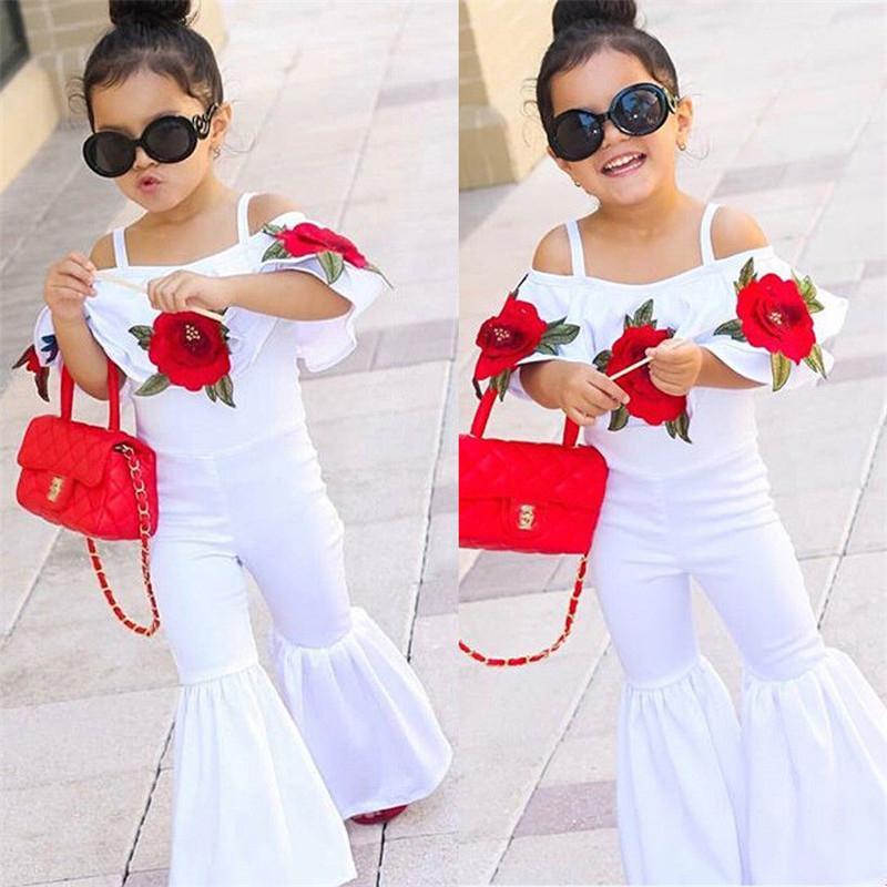 1 مجموعة جديدة ربيع الخريف أزياء طفلة الملابس مجموعة جديدة الفتيات روز التطريز مطبوعة رومبير السراويل الطويلة ل حرية الملاحة