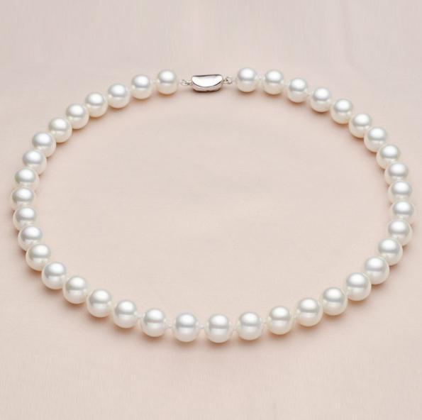 Deep Ocean Shell Perlenkette Golden weiße runde Halskette 925 Silber Verschluss