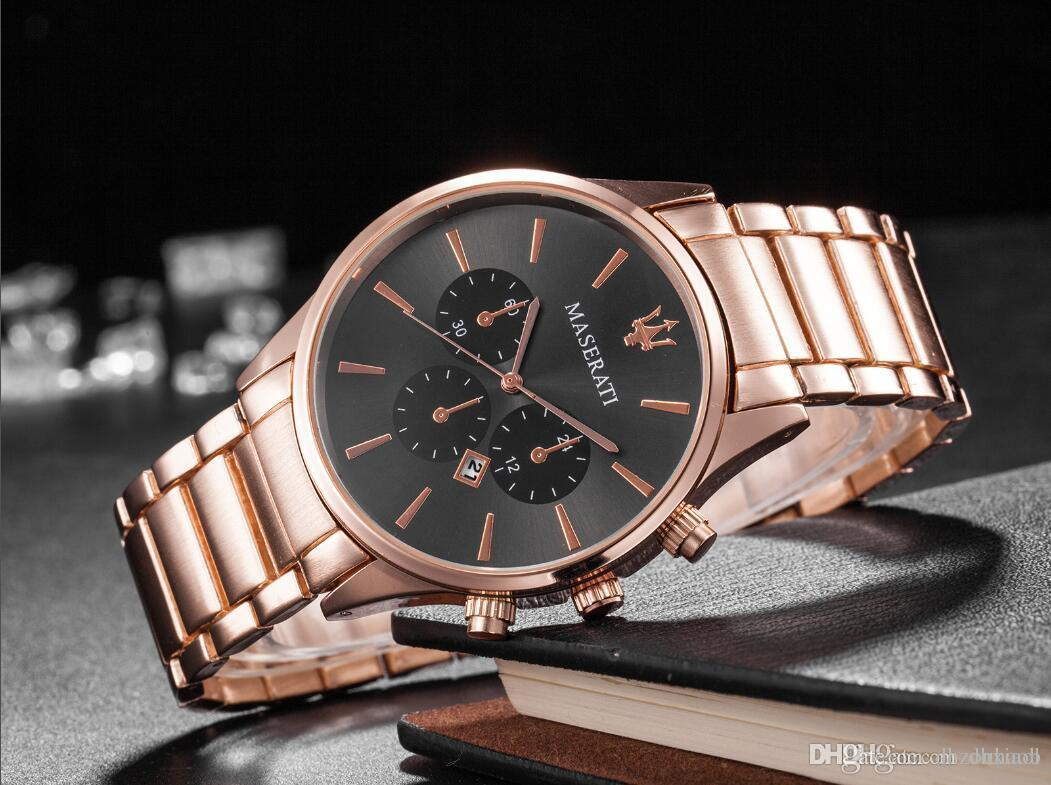 Italy Brand 43mm Auto Date Dial Men And Women Leisure Watches Skillful Manufacture Rose Gold Watch Case Running Stopwatch Quartz Clock