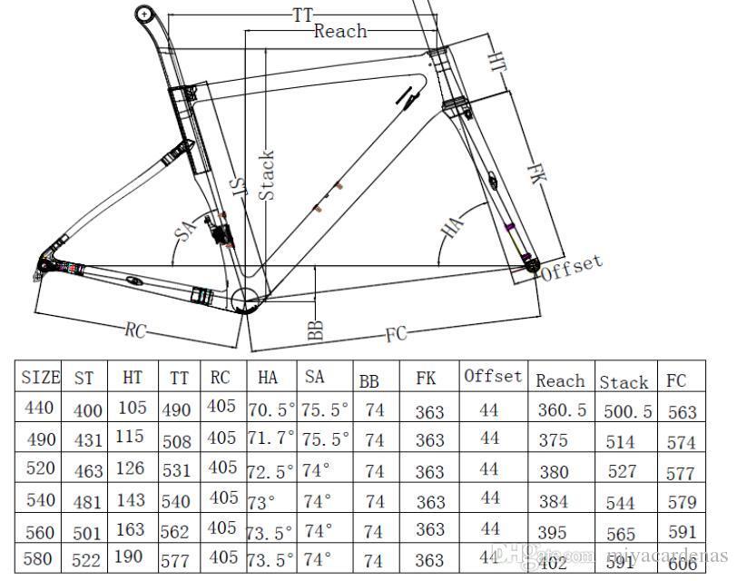 Molti colori carbonio disco struttura della bici strada struttura della bici del carbonio con BB30 bb68 44/49/52/54/56/58 centimetri