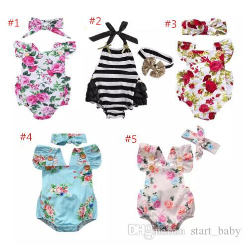 USA Newborn Baby Girl Romper Lace Floral Jumpsuit Outfits Flower Summer Clothes