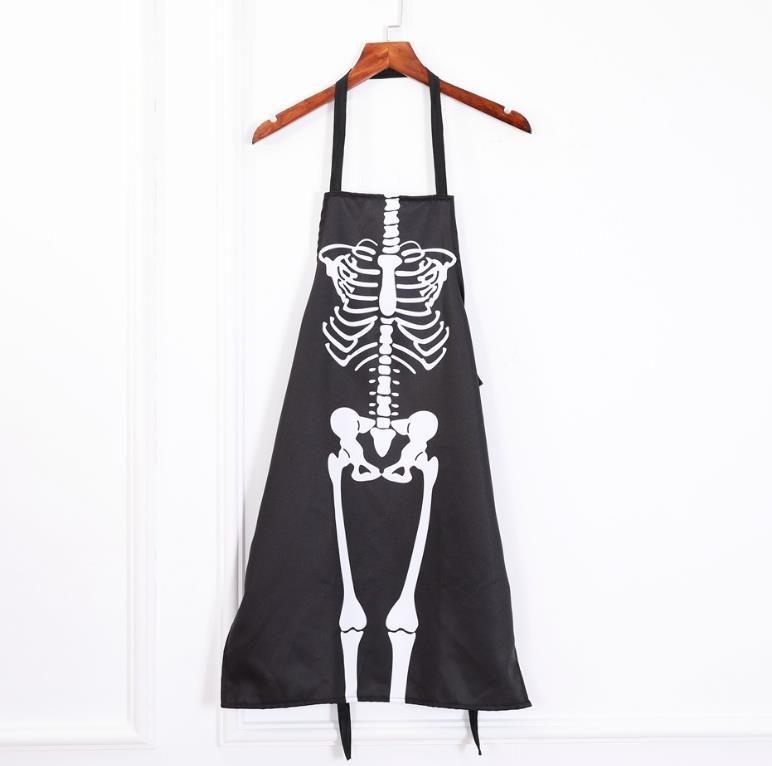 참신의 앞치마 할로윈 무서운 공포 뼈대의 유령 커버 올 앞치마 요리 그림 미술 부엌 BBQ 파티 액세서리 성인 사이즈 블랙 선물