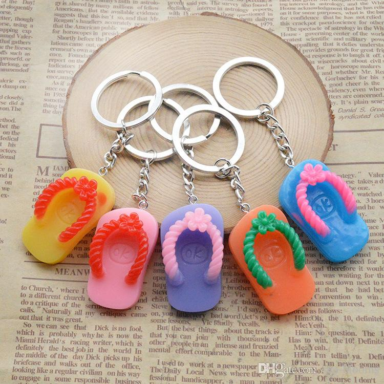Promotion flip flops Keychains Slippers Key Rings Slipper Key Holder Bag Car Accessorices (Random Color Send) Support FBA Dropshipping G739Q