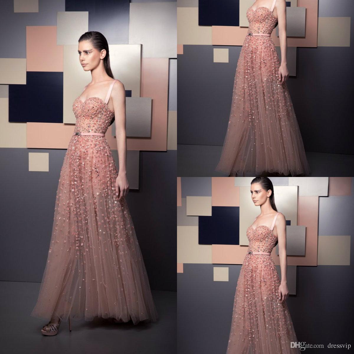 2019 Ziad Nakad Prom Dresses rosa Pizzo Pizzo 3D Appliques floreali Perle Caviglia Lunghezza Abito da sera Illusion Corpetto Abiti da festa formale