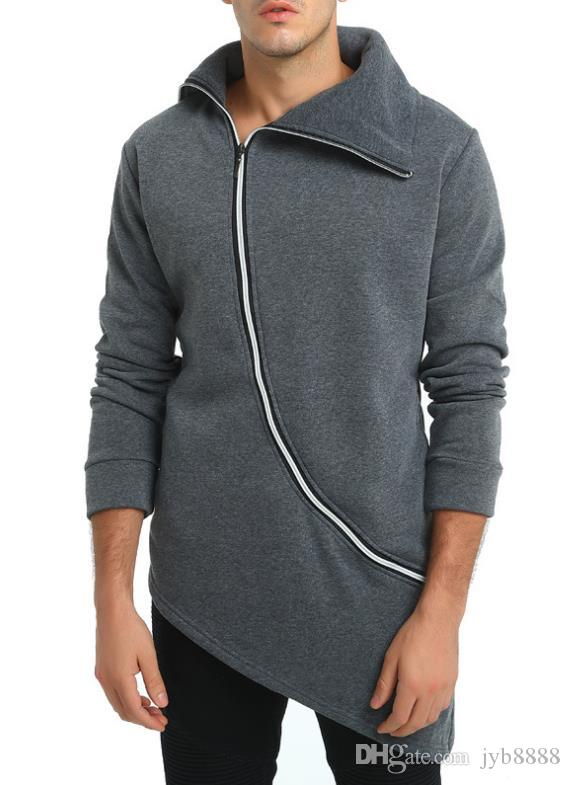 New European and American men's irregular hem design oblique zipper long-sleeved sweater tide coat