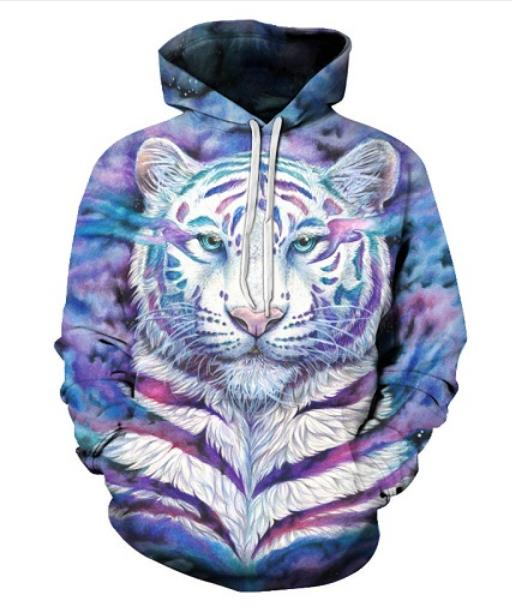 Wholesale--Unisex Autumn Winter Colorful Tiger 3D Print Hoodies Sweatshirt Cosplay for Woman Man Clothing Tops HH0116
