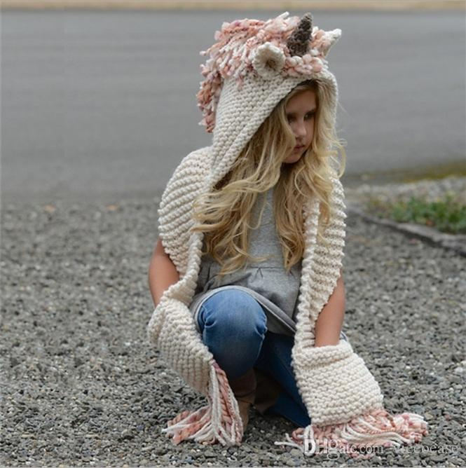 Vieeoease Girls Scarves Christmas Unicorn Kids Accessories 2018 Autumn Winter Fashion Warm Knitting Horn Tassels Patchwork Scarf EE-1392