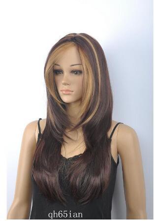 Free shipping++++New sexy ladies Medium long Brown Mixed Straight Natural Hair wigs