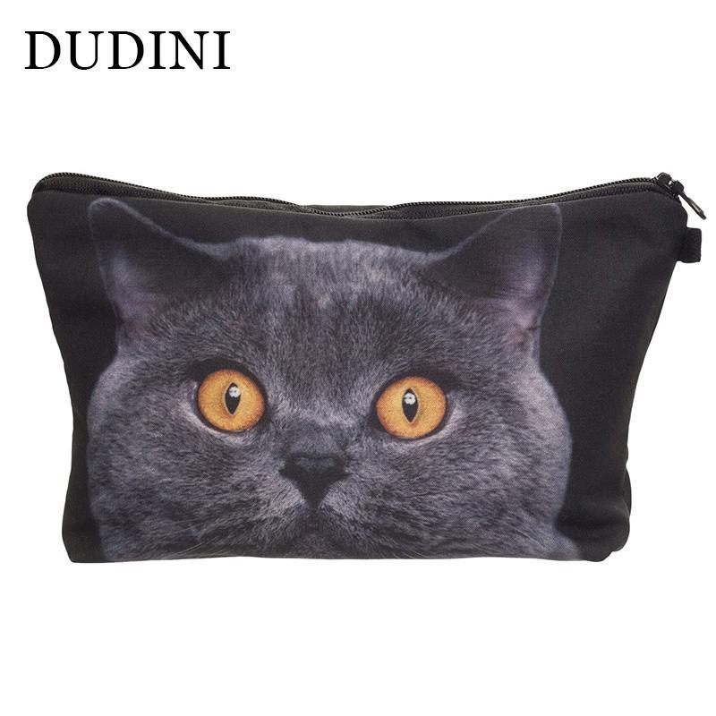 DUDINI Women Neceser Portable Make Up Bag Case 3D Printing British Cat Organizer Bolsa Feminina Travel Toiletry Cosmetic Bag