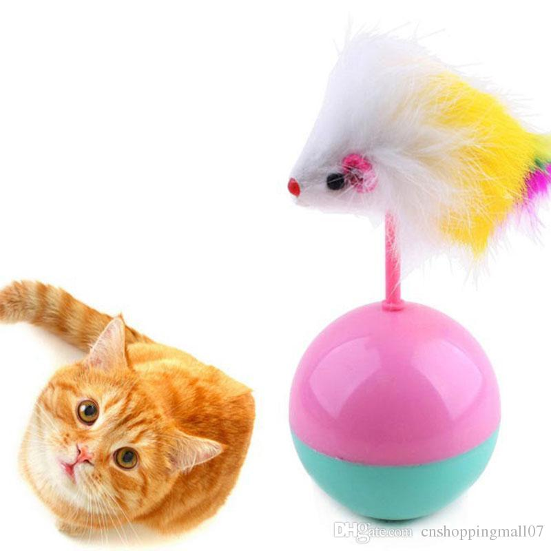 Pet brinquedos do gato engraçado fornece gatinho mouse Tumbler Cat Dog Toy Plush Com Esferas do gato Brinquedos Formação Kitty Animais Acessórios